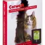 W-CDB Wood Fitting Slim Line Cat Door Brown Box