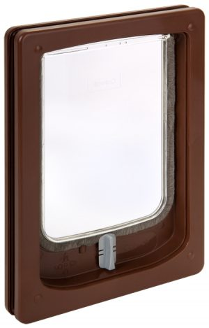 W-SDDB Wood Fitting Small Dog Door Slim Line Brown