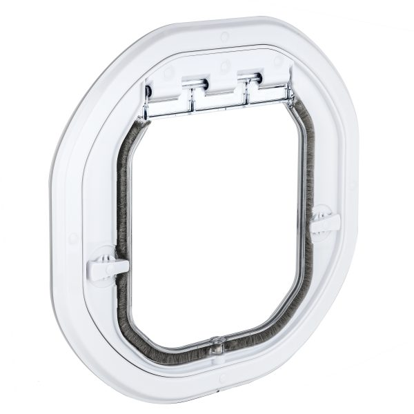 G-IDDSLW Glass Fitting Intermediate Dog Door Slimline White